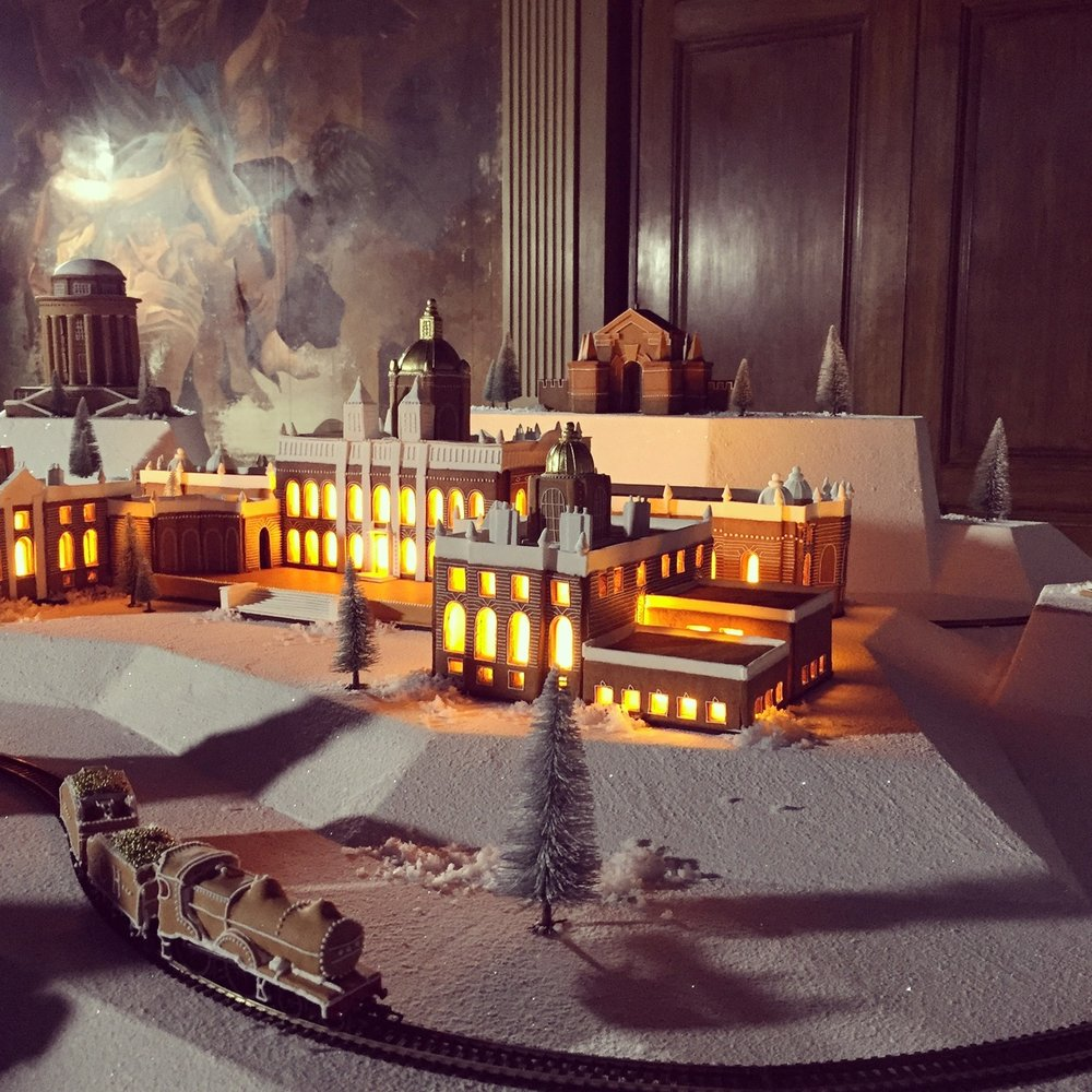 CASTLE HOWARD WINTER WONDERLAND INSTALLATION  Commissioned for Castle Howard's Christmas display, the gingerbread wonderland featured 8 separate buildings and a working gingerbread train. (photo credit:  Bompas & Parr )