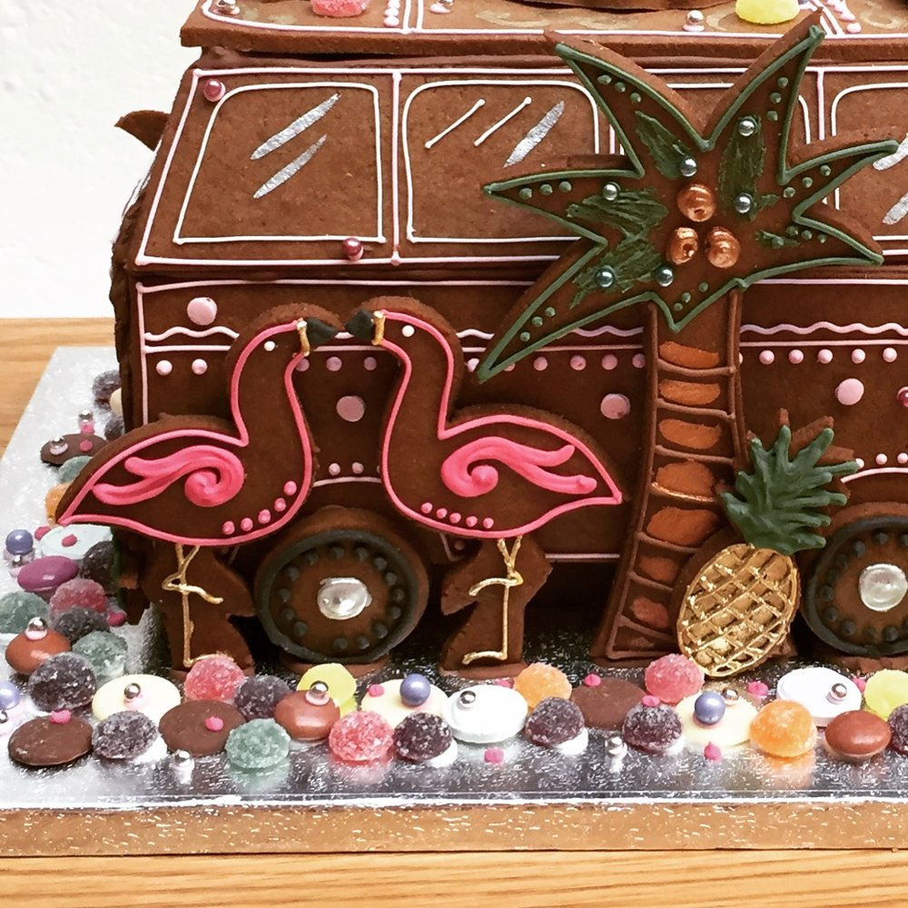 GINGERBREAD CAMPERVAN FOR POPPY DELAVIGNE  Commissioned as a bespoke thank you gift for Poppy following a summer event.