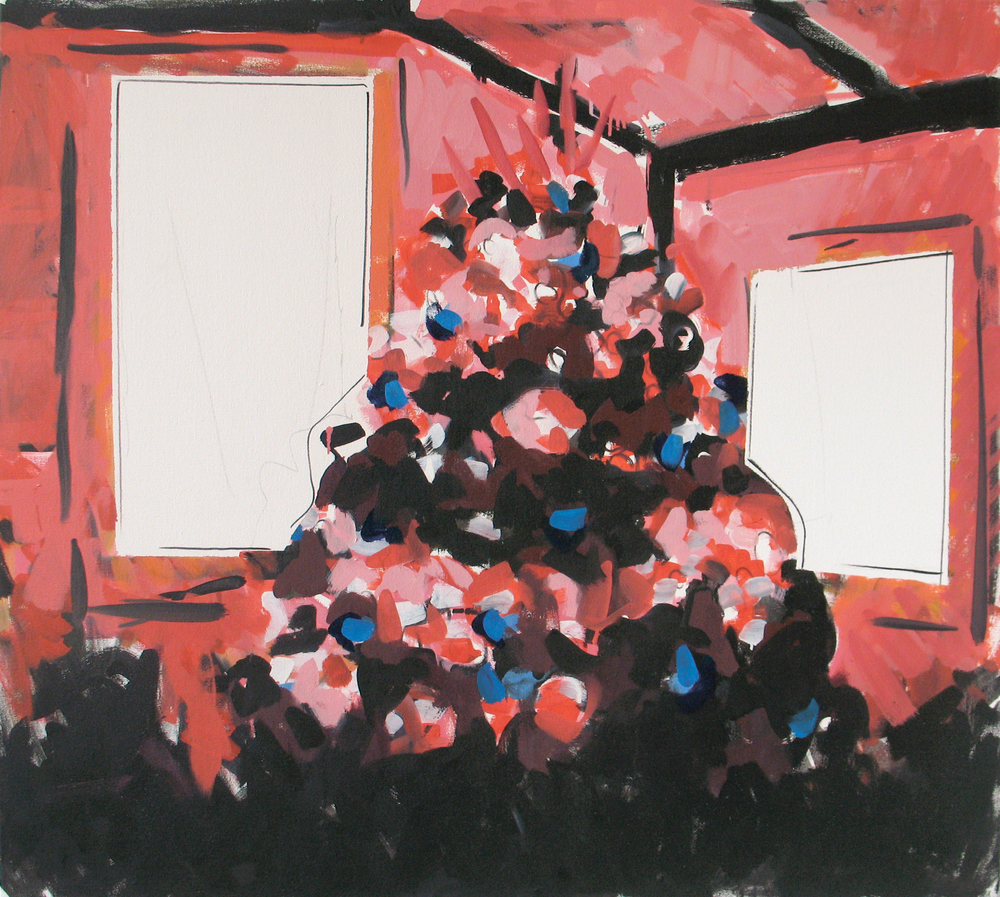 """Pink Christmas Tree, 36"""" x 40"""""""