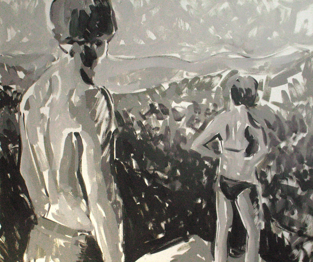 "Black and white couple, 36"" x 44"""