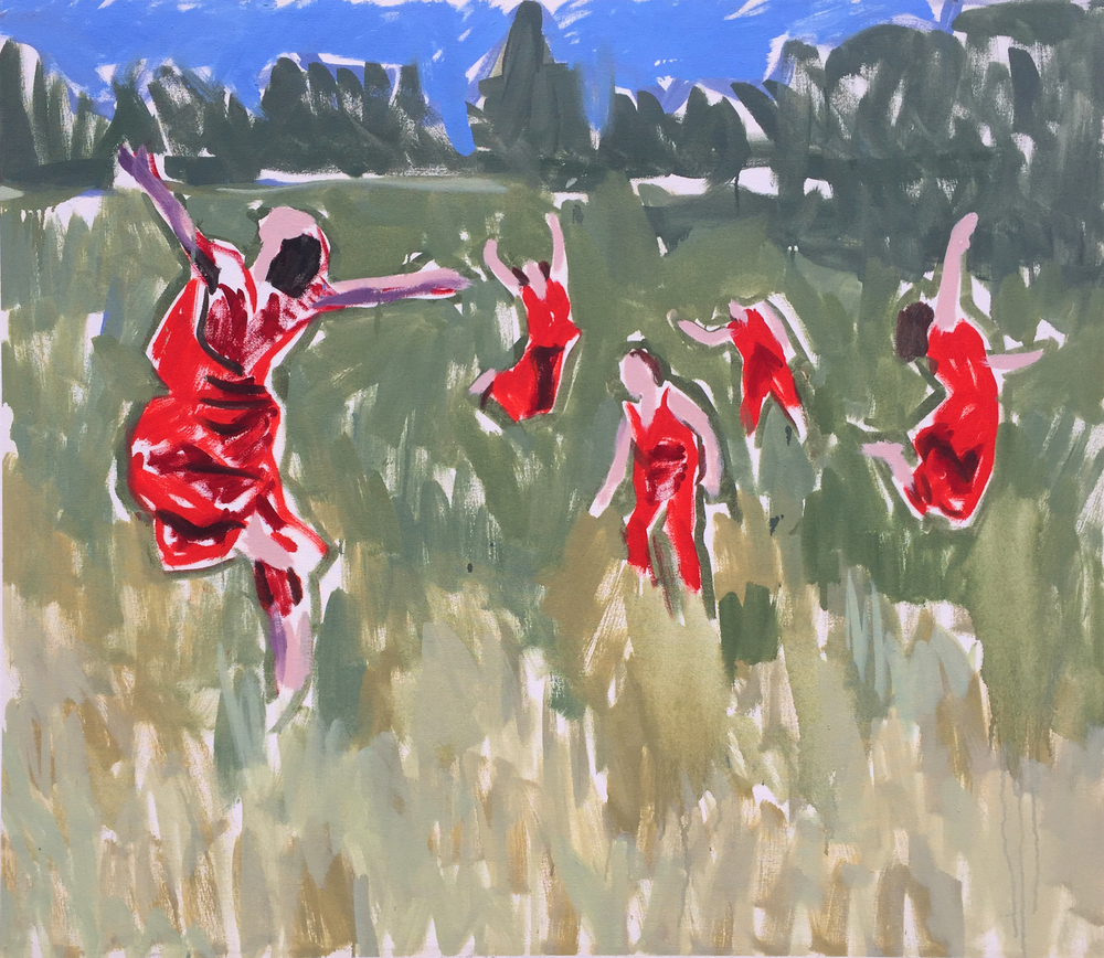 """Dancers in red dresses, 36"""" x 40"""""""