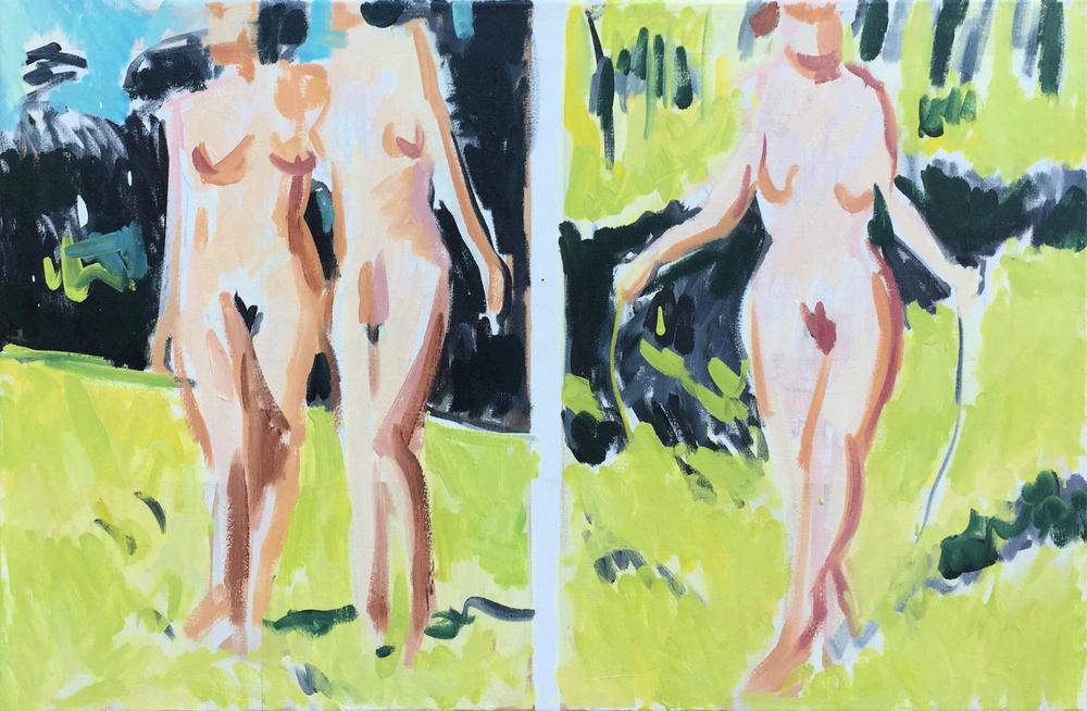 """Three Figures, 22"""" x 34"""""""