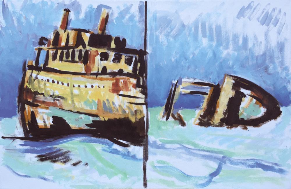 """Shipwreck, 22"""" x 34"""""""