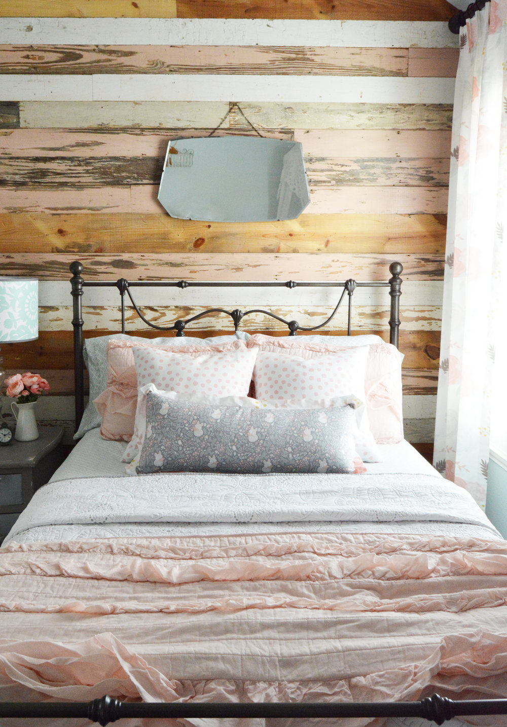 """Here's a little teaser for my """"coming soon"""" feminine toddler room reveal. The wood wall is from Old Texas Wood. They scoured the warehouse and lumbar yard for me when I asked for pink boards :)"""