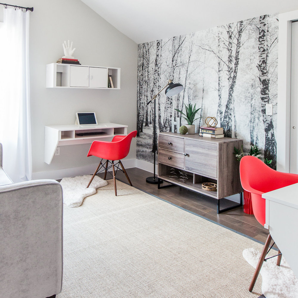 The black and white forest mural in my  Urban Rustic Retreat project  is from Murals Your Way.