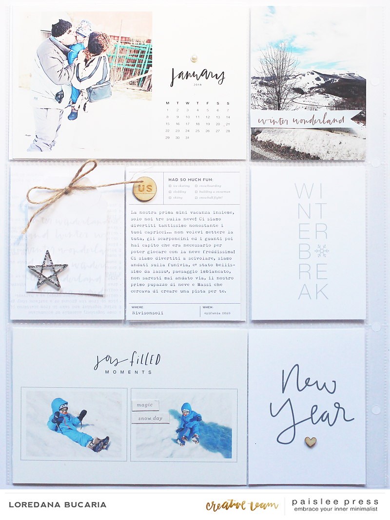 Pagina sinistra del weekend che ho voluto raccontare, il weekend dell'Epifania 2018, prima delle tre settimane di influenza... Ho usato i seguenti prodotti di  Paislee Press :   Paislee Press 2018 Calendar Title Cards (Monday-Sunday)   Winter Vibes Photo Templates   Winter Vibes Journal cards   Positive Vibes Elements   Il colore di base è il bianco mischiato all'azzurro delle foto, l'argento, e il color crema/legno.   I have used some amazing digitals from Paislee Press, the color palette is just a winter typical color palette, light blue, silver, white, cream, wood.