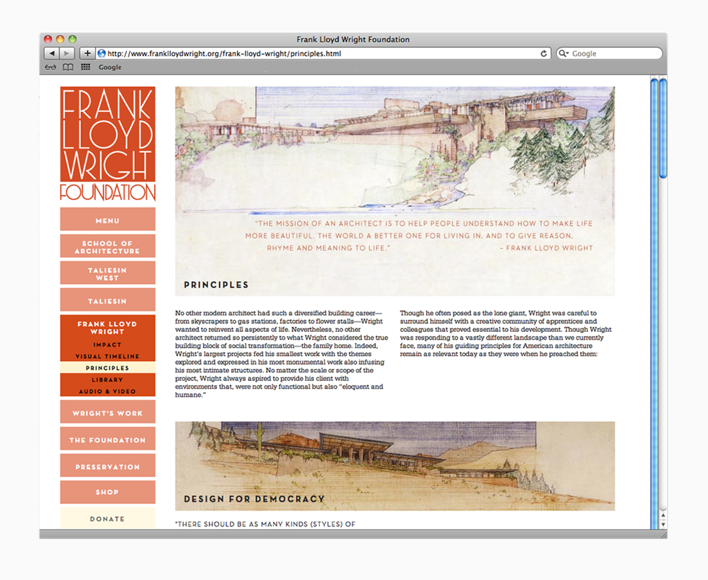 Frank Lloyd Wright Design Philosophy frank lloyd wright foundation — kristen ren