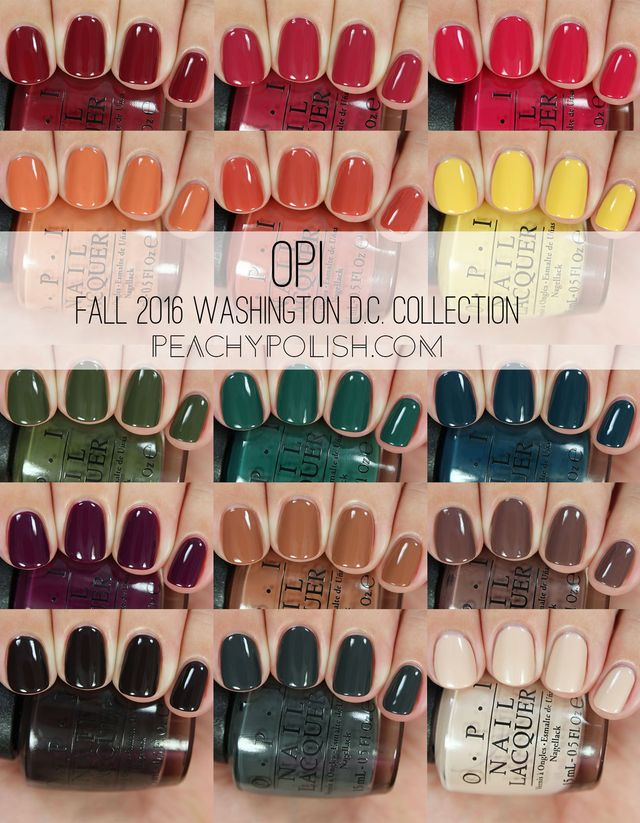 OPI's Fall 2016 Collection for a little nail polish inspiration... more details by Peachy Polish below! https://www.bloglovin.com/blogs/peachy-polish-4324593/opi-fall-2016-washington-dc-collection-swatches-5013704333