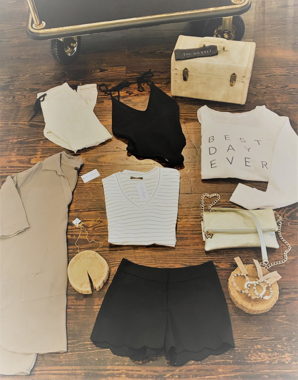 Olive Linen Shift Dress, Comfy Joggers for Pajamas/Lounging, V-Neck Black Swimsuit, 'The Journey' Headband, Long Gold Necklace (to dress up tshirt & shorts or dress), Black & White Striped Tee, Black Scalloped Shorts, Kelly Wynne Crossbody, Twine & Twig Bracelet Stacks, 'Best Day Ever' Sweatshirt.... Don't forget your flip flops & sunnies!