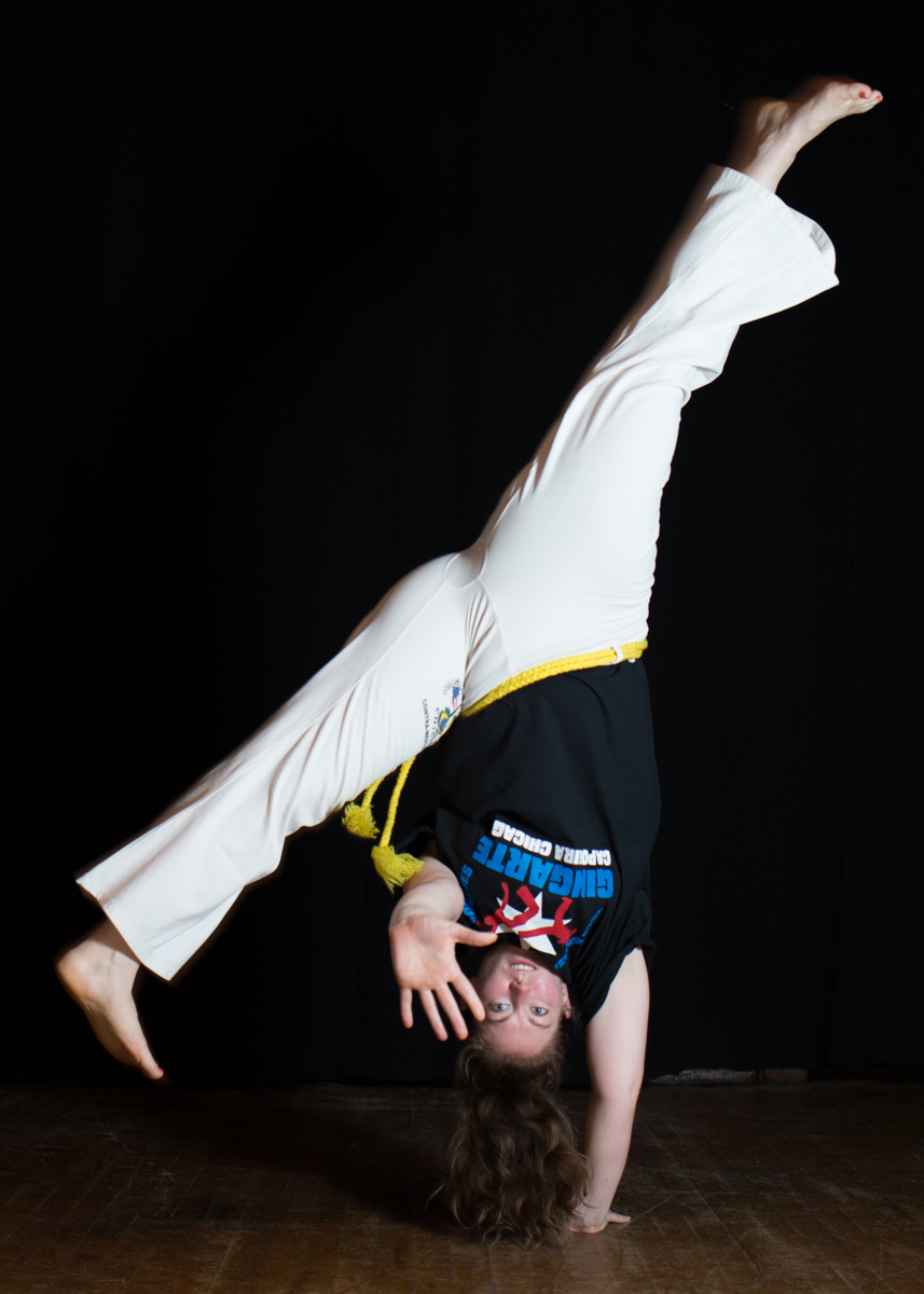 Heather Pogue, (Dourada) , began training capoeira with Mestra Marisa in Chicago in 2002.  She earned her yellow cord in 2007.  She had twin daughters, Maya and Amara, with her husband, Eric Johnson in 2008.  After taking some years off to raise their children and teach elementary school, Dourada began training capoeira again in 2014 and earned her blue/yellow cord in 2016.   She helped to establish GCVT in 2015 and takes care of management and advertising.