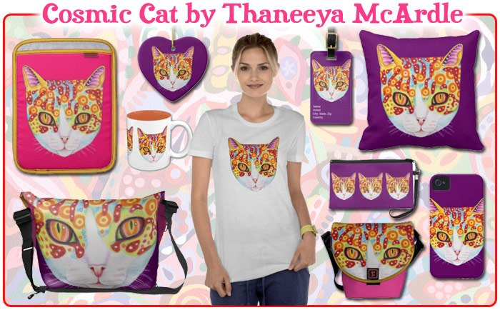 Colorful cat art by Thaneeya McArdle
