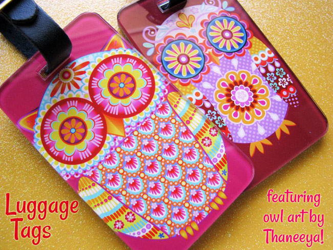 Colorful Owl Luggage Tags by Thaneeya McArdle
