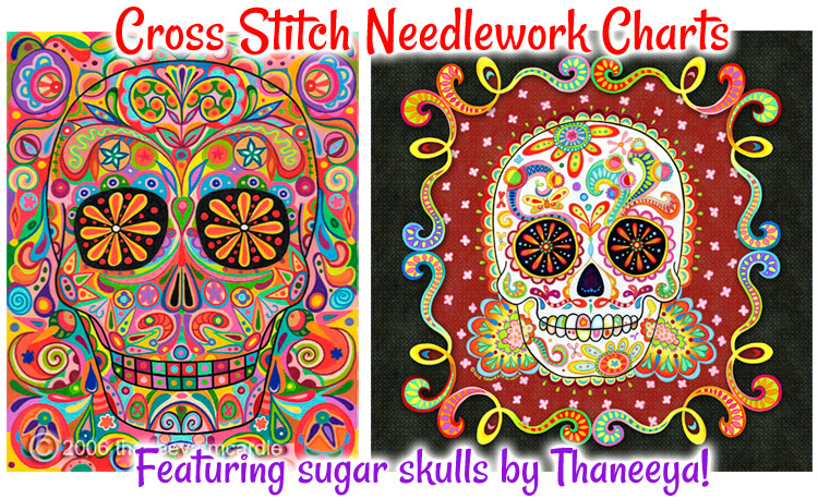 Sugar Skull Cross Stitch Needlework Charts