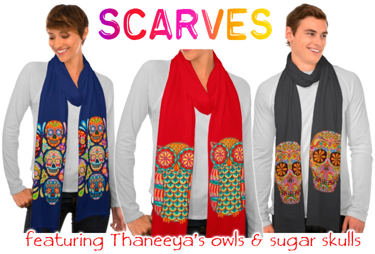 Sugar skull scarves and owl scarves featuring the art of Thaneeya McArdle