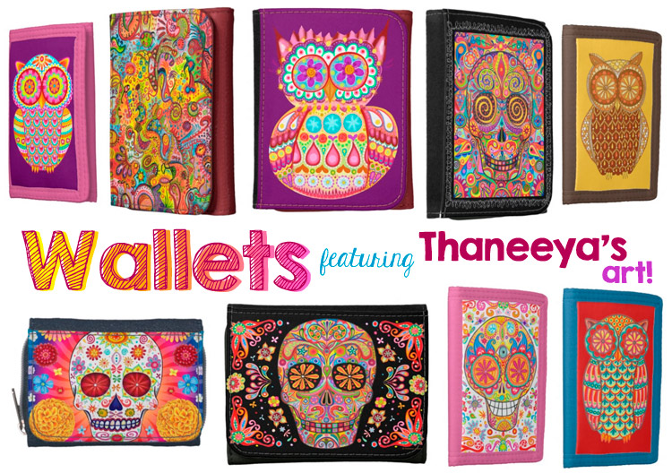 Colorful Wallets featuring the art of Thaneeya McArdle