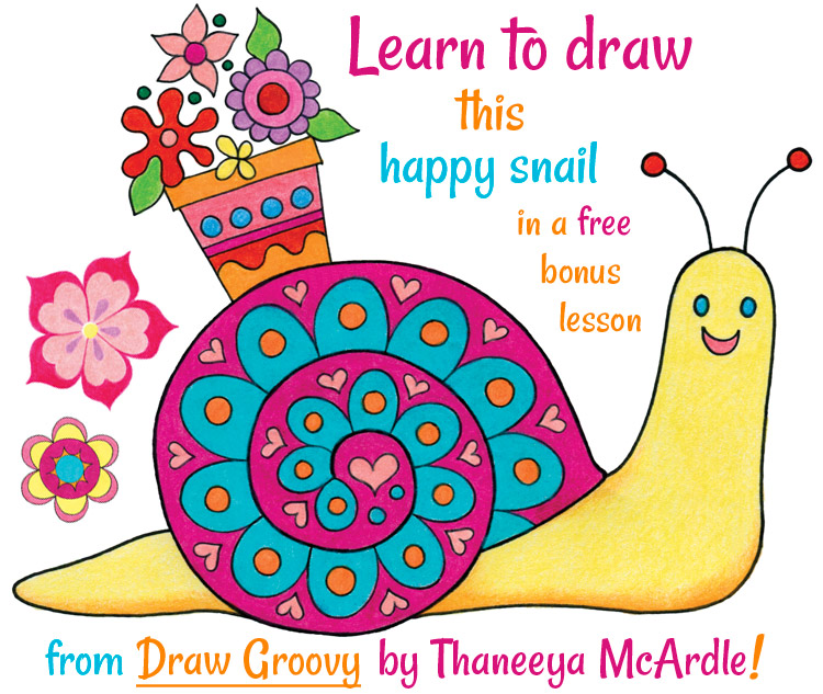 Learn how to draw a happy snail in this free bonus lesson by Thaneeya McArdle