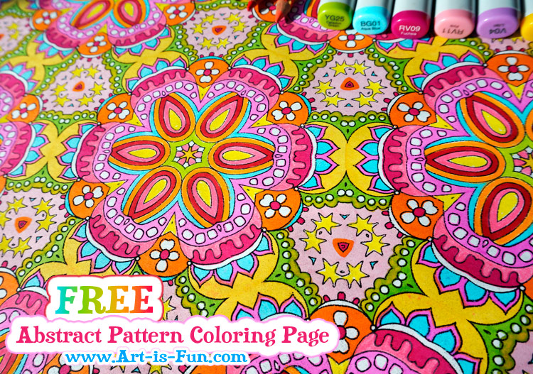 Free Abstract Pattern Coloring Page by Thaneeya