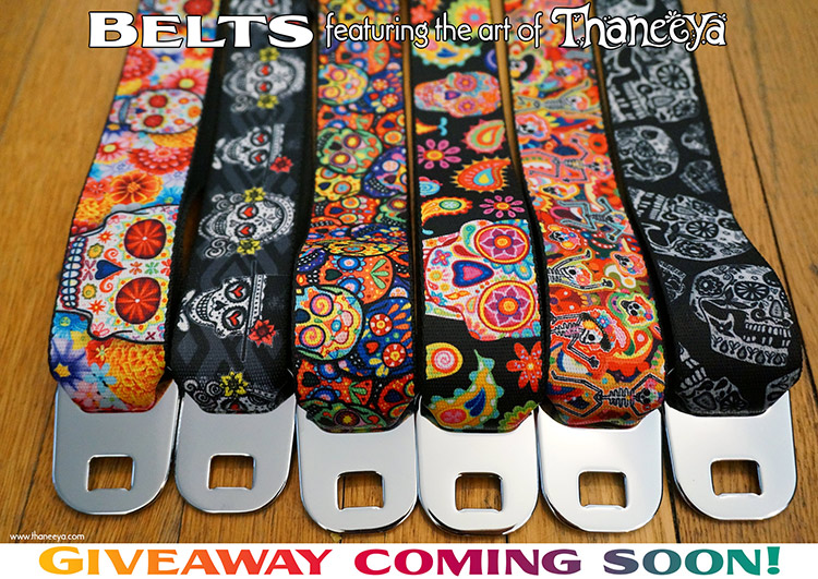 Sugar Skull Belts featuring Day of the Dead Art by Thaneeya McArdle