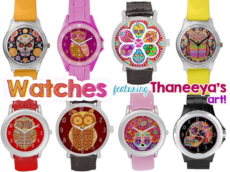 colorful-watches-owls-sugar-skulls-art-2-by-thaneeya