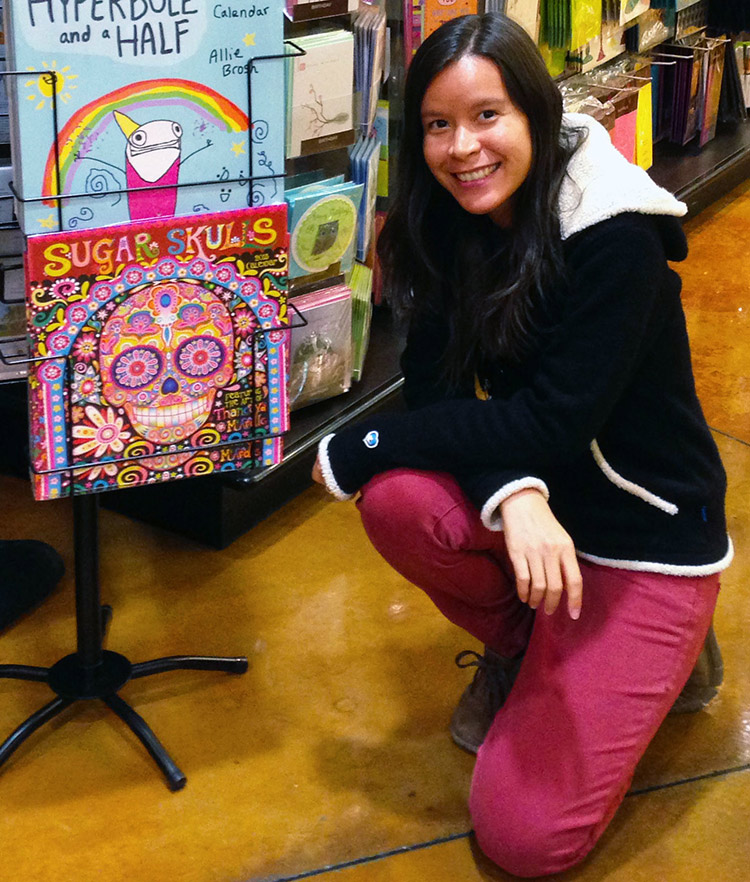 Thaneeya-with-Sugar-Skulls-2016-Calendar-at-Whole-Foods-750