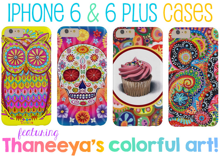Colorful iPhone 6 and 6 Plus cases featuring Thaneeya's sugar skulls, owls, abstracts and more
