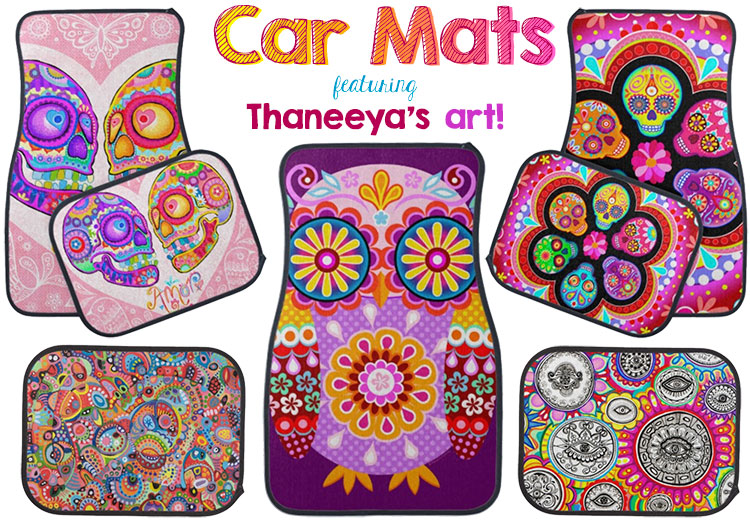 Colorful sugar skull car mats, owl car mat and more featuring the art of Thaneeya McArdle