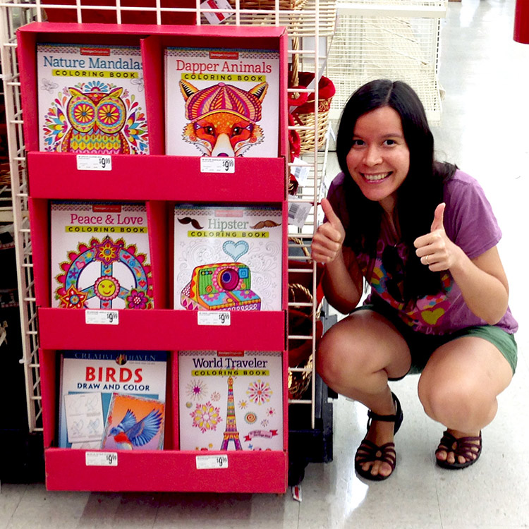 Thaneeya's coloring books at Michaels Arts and Crafts stores