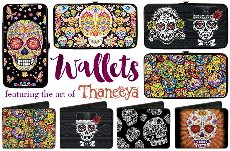 Sugar Skull Wallets featuring the art of Thaneeya