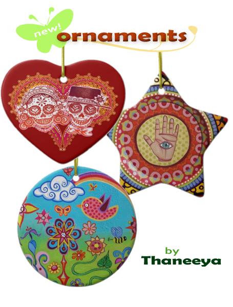 Funky art ornaments