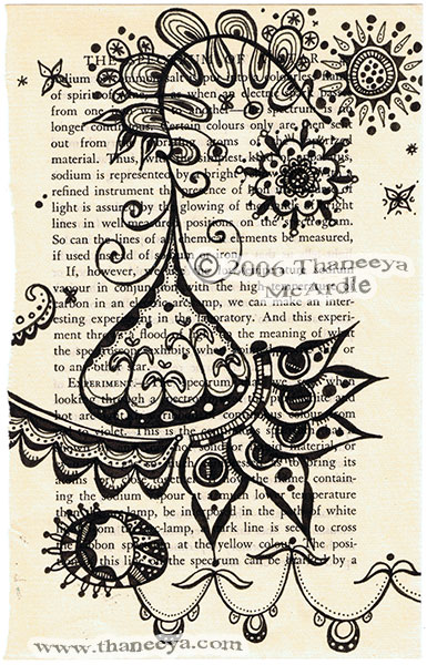 Abstract Ink Drawing on Vintage Book Page