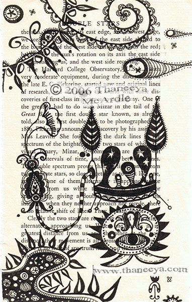 Ink Drawing on Old Book Page by Thaneeya