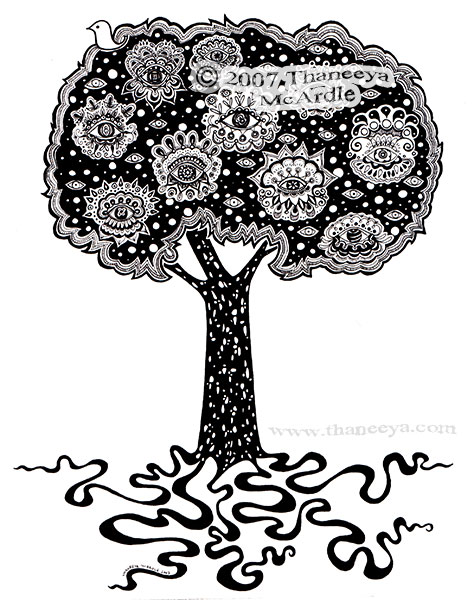Tree of Life Ink Drawing by Thaneeya