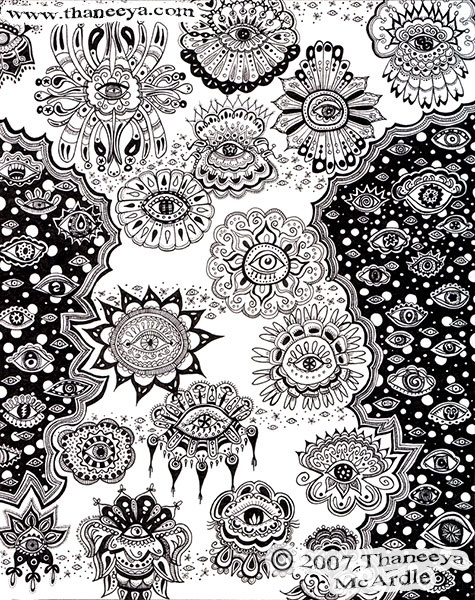 Detailed Abstract Ink Drawing by Thaneeya