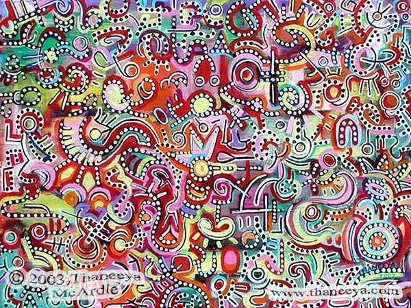 Groovy Abstract Dot Painting by Thaneeya McArdle