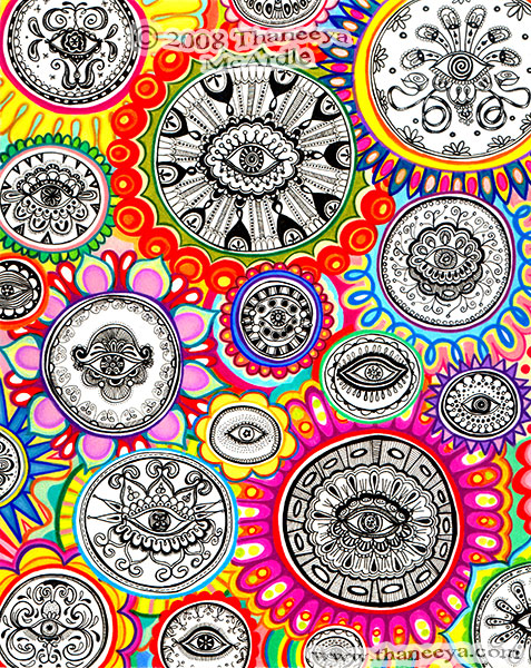 Detailed Cosmic Eyes Abstract Art Drawing
