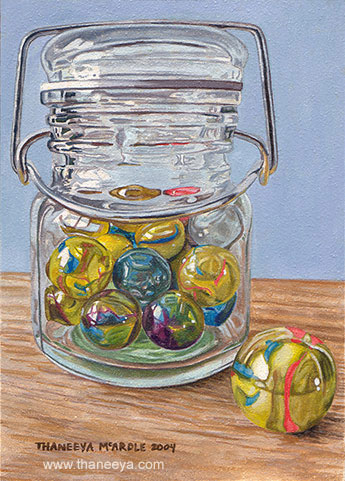 Jar of Marbles Watercolor Photorealism by Thaneeya