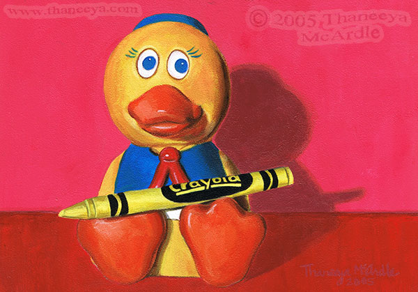 Duck Toy Photorealism Painting by Thaneeya