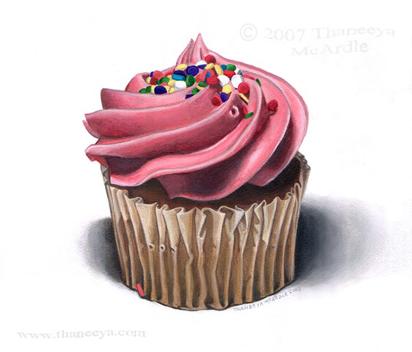 Cupcake Photorealism Painting by Thaneeya