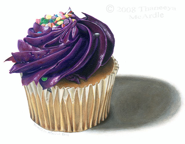 Cupcake Photorealist Painting by Thaneeya