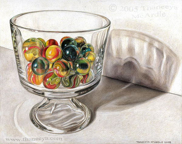 Photorealistic Still Life Drawing of Marbles by Thaneeya