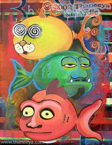 Whimsical Ugly Fish Painting by Thaneeya