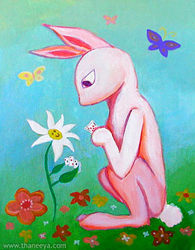 Whimsical Bunny Flower Painting by Thaneeya