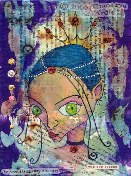 Whimsical Fairy Mixed Media Portrait Art by Thaneeya