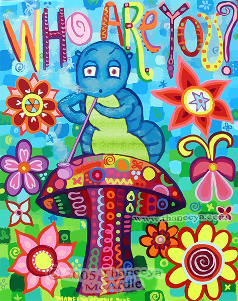 Whimsical Caterpillar Alice Painting by Thaneeya