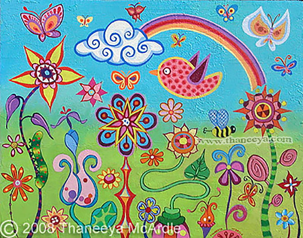 Colorful Whimsical Landscape Painting by Thaneeya
