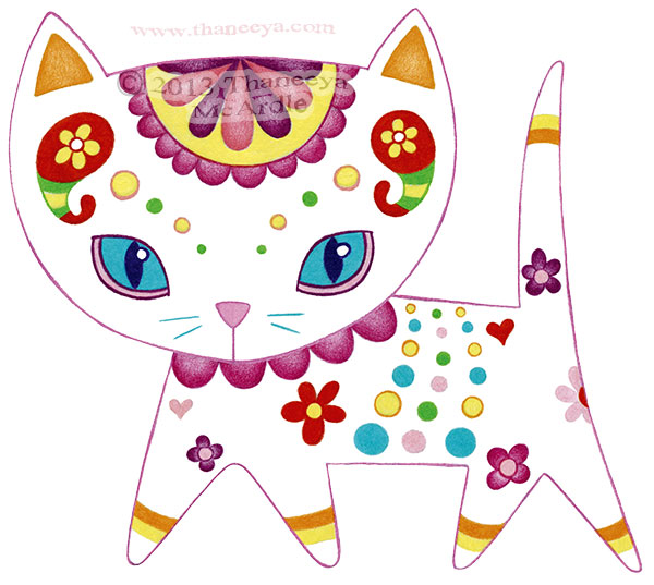Colorful Cat Drawing Art by Thaneeya