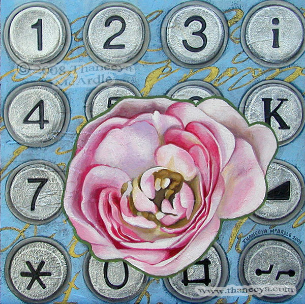 Pink Rose Acrylic Painting by Thaneeya