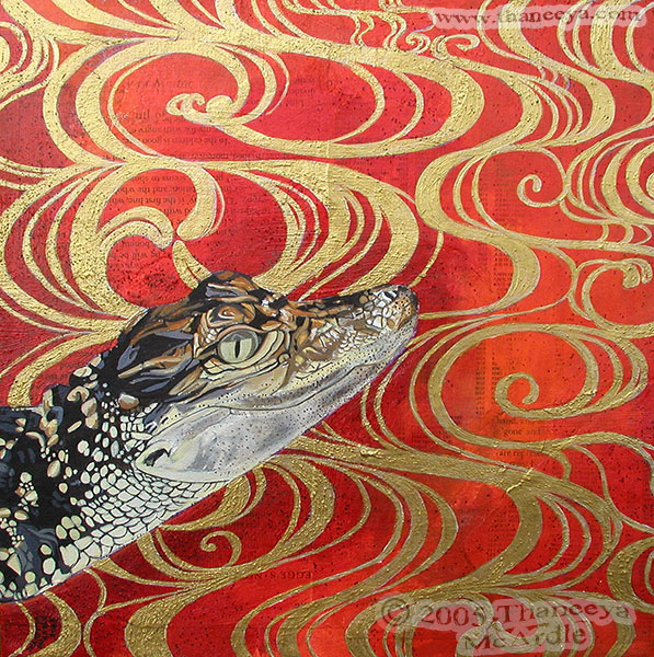 Funky Baby Alligator Painting by Thaneeya