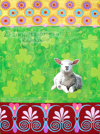 Colorful Lamb Painting by Thaneeya