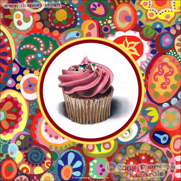 Colorful Cupcake Painting Art by Thaneeya